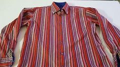 LUCHIANO VISCONTI Striped Large Sport Shirt Embroidered Flip Cuff Long Sleeve