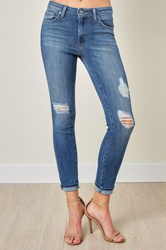 Well Rounded Dark Wash Distressed Skinny Jeans at reddressboutique.com
