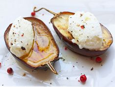 Roasted Baby Eggplant w/ Ricotta Cheese - a beautiful and delicious low carb appetizer or side.