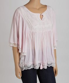 Look what I found on #zulily! Pink Lace Cape-Sleeve Top - Plus #zulilyfinds