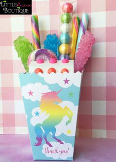 Rainbow Unicorn treat box,Unicorn Popcorn Box,Birthday Party, Personalized favor Box,Unicorn Favor b Unicorn Themed Birthday, Birthday Favors, 1st Birthday Parties, 3rd Birthday, Birthday Ideas, Rainbow Unicorn Party, Rainbow Birthday, Unicorn Party Favor, Rainbow Party Favors