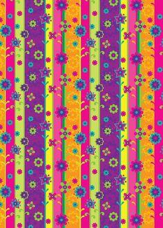 Flores y rayas verticales