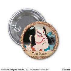 Ichikawa Danjuro kabuki samurai warrior tattoo art Pin button