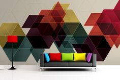 wall painting ideas colourful geometric wall mural contemporary home decor Diy Wand, Wall Designs For Hall, Flur Design, Geometric Sculpture, Minimalist Home Interior, Geometric Wallpaper, Geometric Prints, Contemporary Home Decor, Diy Wall Art