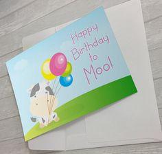 Happy Birthday to Moo! #BirthdayCard #CuteBirthdayCard #Kawaii #PrintableBirthdayCard #Cow #GreetingCard