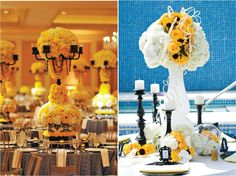 sculpture-like yellow centerpieces