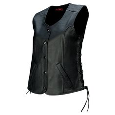 Classic Genuine Biker Cut Club With Side Laces Viking Cycle Haughty Top Grade Cowhide Leather Vest For Women