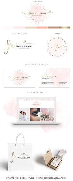 PREMIUM Branding Package - Gold Sprinkles Confetti Pink Watercolor Logo - Calligraphy Handwritten Business Card Design Makeup Hair Artist This premade Branding Package Logo Design Kit is a perfect solution to professionally brand your business for an affordable price. A full package is included for the price listed! I dont charge additional fees for any additional files you need, like it is a practice with other designers…
