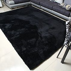 Create Magic with Black Carpet and Rug black carpet mbigm super soft modern area rugs, living room carpet bedroom rug, nursery SMGVYKE Black Carpet Living Room, Black Carpet Bedroom, White Carpet, Patterned Carpet, White Rug, Bedroom Black, Dream Bedroom, Neutral Carpet, Bedroom Small