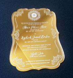 Mirrored gold acrylic invitation with white screen print. 😍 We are obsessed with the look of these. Mirrored acrylic is also available in silver. 🎨design by: Dragonfly Custom Design. Acrylic Invitations, Gold Invitations, Knit Baby Sweaters, Table Signs, Menu Cards, Acrylic Colors, Corporate Events, Special Events, Mirrors