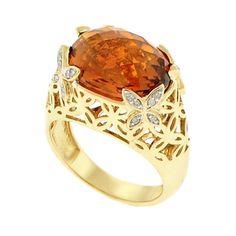 Beverly Hills Charm 14k Gold Citrine and 1/10ct TDW Diamond Ring