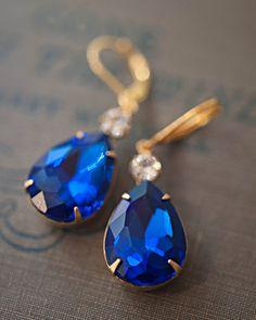 Navy blue earringsNavy blue chandelier by NotOneSparrow on Etsy