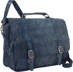 Piel Denim Leather Messenger Bag Denim Blue - via eBags.com!