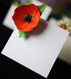 Poppy Tulip Wedding Place Card Set of 25. $53.50, via Etsy.
