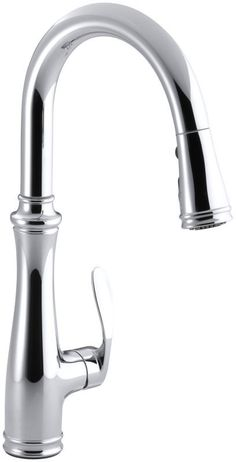 "View the Kohler K-560-CP Polished Chrome Bellera Single-Hole or Three-Hole Kitchen Sink Faucet with Pull-Down 16-3/4"" Spout and Right-Hand Lever Handle, DockNetik Magnetic Docking System, and a 3-Function Sprayhead Featuring Sweep Spray at Build.com."