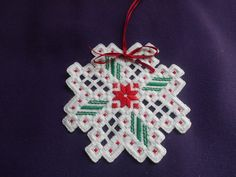 Red star Hardanger Christmas Ornament • CAD 13.44 - PicClick CA                                                                                                                                                                                 More