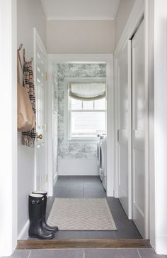 Sunken Mudrooms, Transitional, Laundry Room, Benjamin Moore Balboa Mist, Erin Gates Design