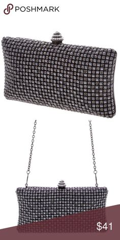 """Cannes Film Festival Rhinestone Clutch This sleek and sophisticated clutch, which also comes with a silver chain so that it can be worn as a bag, is large enough to fit your phone, keys, credit card, and red lipstick—what else do you need? It's eye-catching black and rhinestone design will effortlessly complement your little black dress.  Materials: Rhinestone covered frontside, Faux leather backside Approx. Measurements (one size): 7.75"""" width, 4.75"""" height, 2"""" depth Bags Clutches…"""