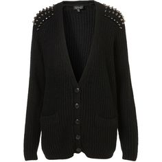 Knitted Stud Rib Cardi ($96) ❤ liked on Polyvore featuring tops, cardigans, sweaters, outerwear, jackets, black, ribbed cardigan, studded cardigan, black top and black cardigan