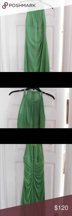 Long mesh dress with illusion neckline Beautiful Clover green dress! Worn only once! Bridesmaid dress but perfect for wedding, prom, or any gala event! I'm 5'2 worn with 4 inch heels fit perfectly! TO PURCHASE PLEASE USE THE BUY NOW OR ADD TO BUNDLE FEATURE! (: David's Bridal Dresses Wedding