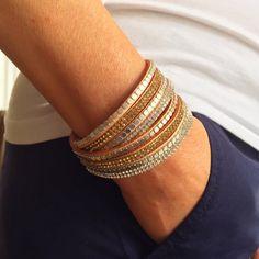 Crystal Wrap Bracelet, Double Wrap Bracelet, Brass beaded Bracelet