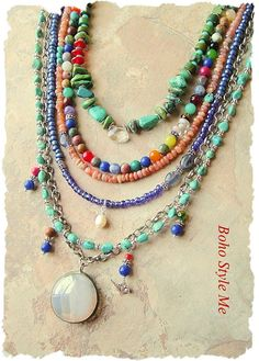Bohemian Necklace Multiple Strands Mixed Gemstone Necklace