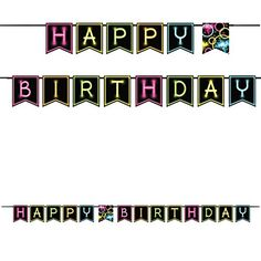 Shaped Ribbon Banner 'Happy Birthday', One Size. - Your party will be bright even in the dark with our Glow Party Pennant Banner! Features bright colors and glow-in-the-dark printed letters. Made of card stock. Measures x Includes one banner per package. Happy Birthday Text, Teen Birthday, Birthday Letters, 11th Birthday, Birthday Ideas, Banner Letters, Ribbon Banner, Party Themes For Teenagers, Glow Party Decorations