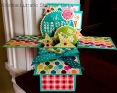 Card in a box inspired by Stampin T and Monica's Passions. All supplies Stampin' Up! Made by Kristine Lutrario.