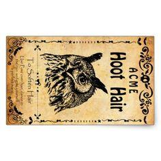 Halloween sticker Acme hoot hair Rectangular Sticker - Halloween happyhalloween festival party holiday