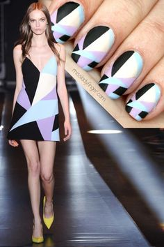 Easy Nail Art Designs DIY Projects Craft Ideas & How To's for Home Decor with Videos Diy Nail Designs, Simple Nail Art Designs, Nail Polish Designs, Easy Nail Art, Cool Nail Art, Nail Deco, Color Block Nails, Geometric Nail Art, Lady Fingers
