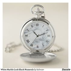 White Marble Look Black Numerals Pocket Watch