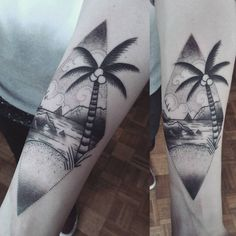 Beach scene tattoo by Aex M Krofchak. Traditional tattoo. Neotraditional. Blackwork. Black tattoo. Palm tree.
