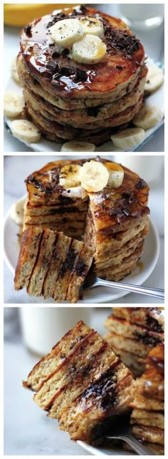 Best Ever Banana Oat Pancakes!!! Made with mashed bananas, greek yogurt, oats, and whole wheat, but tastes 100% amazing! Make these to-day!