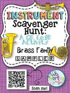 *This FREE Instrument Scavenger Hunt is an interactive and fun way for your students to learn the names and families of the instruments in the brass family.*Great activity to include iPads or tablets in the music classroom! Music Lessons For Kids, Music Lesson Plans, Piano Lessons, Kindergarten Music, Teaching Music, Dream Music, Music Worksheets, Music Activities, Music Games