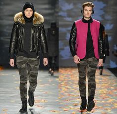 Mackage 2014-2015 Fall Autumn Winter Mens Runway Looks - World MasterCard Fashion Week Toronto Canada Catwalk Fashion Show - Shorts Over Leggings Bomber Jacket Outerwear Coat Furry Cap Puffer Down Jacket Coif Hat Camouflage Stripes Headphones Multi-Panel Parka Hoodie Gloves Quilted Leather Motorcycle Biker Rider Peacoat Backpack Briefcase Plaid Tartan Jogging Sweatpants