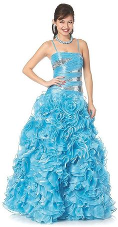 Poofy Sky Blue Cinderella Dress Flowers Sequins Long Spaghetti Strap (2 Colors Available) $399.99 Spaghetti Strap Formal Dresses