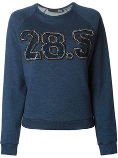 28.5 sequin embroidered logo sweatshirt - Blue cotton blend sequin embroidered logo sweatshirt from 28.5.