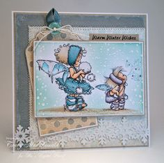 I Wanna Build a Memory: Snow fairies by Mo's Digital Pencil  GORGEOUS card with lots of sparkly embossing