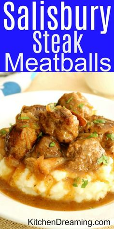 These Salisbury Steak Meatballs with Mushroom Gravy are classic comfort food. This incredibly delicious dinner recipe is ready in about Salisbury Steak Meatballs Ground Beef Recipes Meal Ideas KitchenDreaming via 184436547226056192 Salisbury Steak Meatballs, Homemade Salisbury Steak, Salisbury Steak Recipes, Easy Homemade Recipes, Healthy Recipes, Healthy Snacks, Mushroom Gravy, Mushroom Sauce, Albondigas