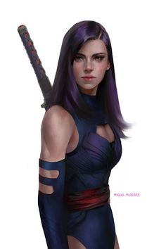 Psylocke, Miguel Mercado on ArtStation at https://www.artstation.com/artwork/R5m5r