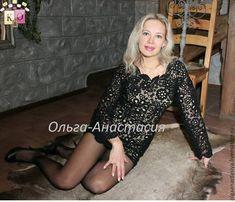 """Купить Ирландское кружево платье """"Diamond noir"""" модель 2,авторская работа - черный, цветочный"""