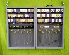 My new jewelry display box, designed for earring cards and chains.  It can be hung (for outdoor shows) or stood on a table for indoor shows.  I put a piece of foam in and close the latch to pack up.