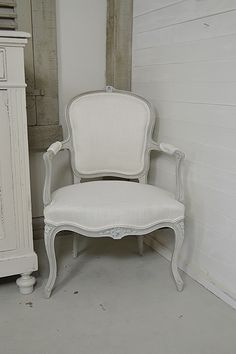 1920s French Louis XV Armchair painted in Annie Sloan Paris Grey with an Old…