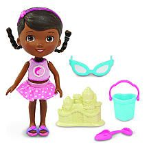 Disney Doc McStuffins Doll Set - Swim Time    It's time for a day at the beach with everyone's favorite doctor, the Disney Doc McStuffins Doll Set - Swim Time! This set includes Doc in her Swim Fashion, Sunglasses, Heartshape Pail, Shovel and Sandcastle!