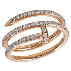 CARTIER Juste un Clou Rose Gold and Diamond Ring | From a unique collection of vintage more rings at https://www.1stdibs.com/jewelry/rings/more-rings/