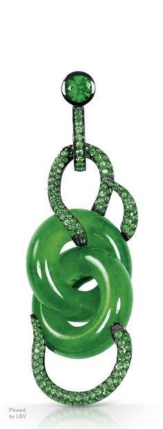 Jadeite Double-Hoop, Diamond And Emerald Pendent Earring | LBV ♥✤ | BeStayBeautiful