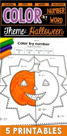 Are you looking for a fun Halloween activity? These color by number and color by sight word worksheets are perfect. Students will have fun completing them while working on skills such as addition, subtraction and word recognition. Math Words, Number Words, Halloween Names, Halloween Fun, Halloween Color By Number, Sight Word Worksheets, Halloween Coloring Pages, Halloween Activities, Addition And Subtraction