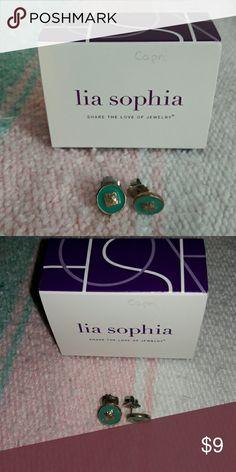 Lia Sophia Capri earrings Cute gold and turquoise earrings by Lia Sophia. Lia Sophia Jewelry Earrings