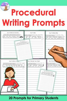This resource contains 20 procedural writing prompts and 2 life cycle cut and paste writing activities for primary students. This product is best for second or third grade students who can write their own sentences.