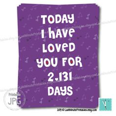 Today I Have Loved You For - love you is anniversary gift valentine template card personalized notecard heart calligraphy wedding boyfriend. $4.99, via Etsy.